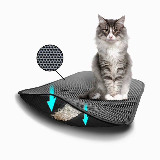 TriedThings Cat Toilet Mat, Gray, 60 x 45